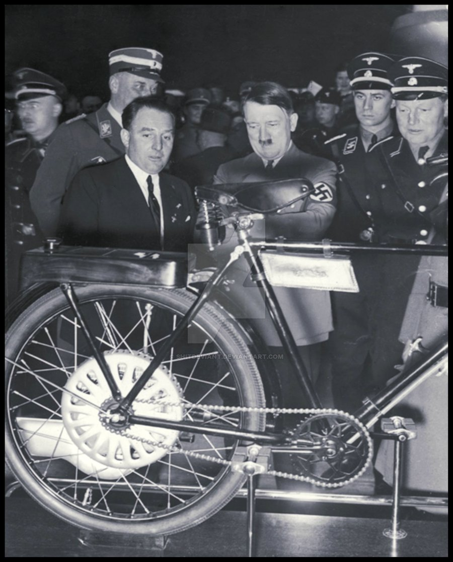 Hitler looking at bike