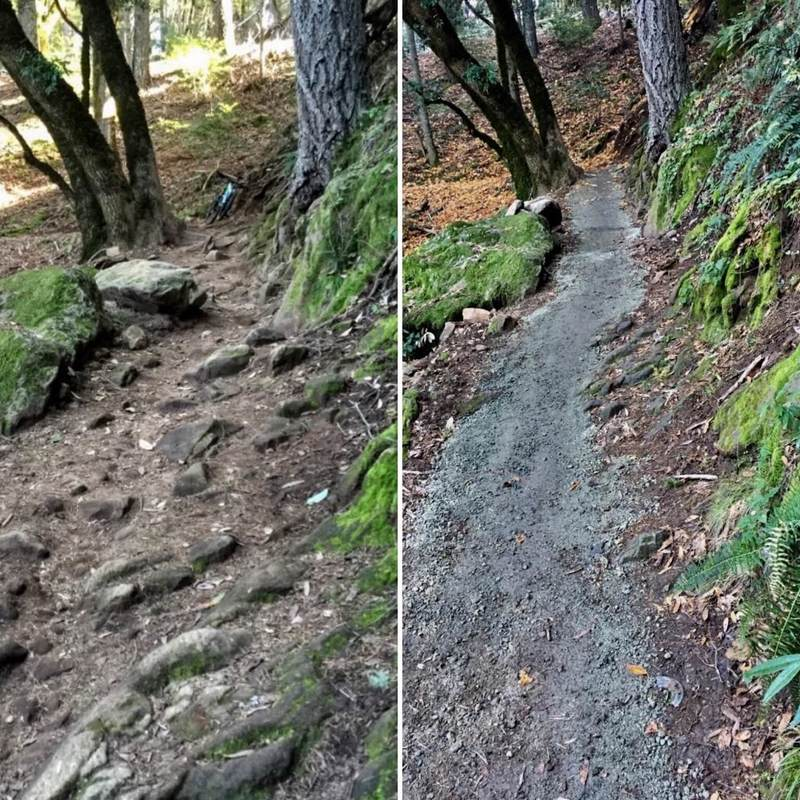 Sanitized trail before and after